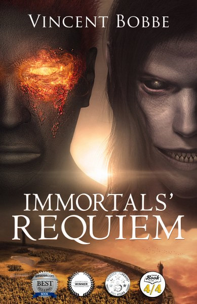Book Cover for epic grimdark fantasy Immortals' Requiem by Vincent Bobbe.