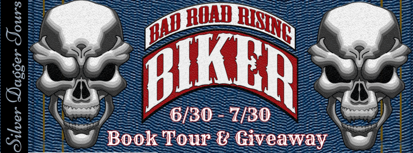 Book Tour Banner for Biker by Mike Baron with a $25 Amazon Gift Card Giveaway