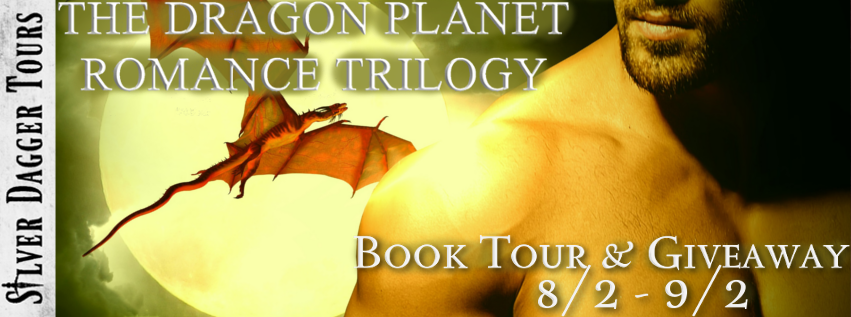 Book Tour Banner for the Dragon Planet romance trilogy by Lynne Murray with a Book Tour Giveaway