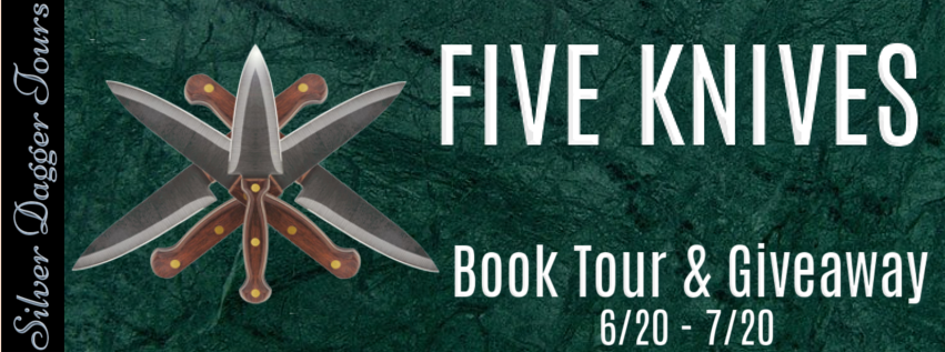 Book Tour Banner for the crime thriller, Five Knives, from the Will Finch mystery series by D.F. Bailey with a Book Tour Giveaway
