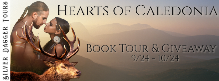 Book Tour Banner for Scottish historical romance series Hearts of Caledonia by Laura Strickland  with a Book Tour Giveaway