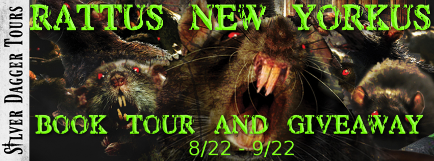 Book Tour Banner for horror novel Rattus New Yorkus from the One Size Eats All series by Hunter Shea with a Book Tour Giveaway