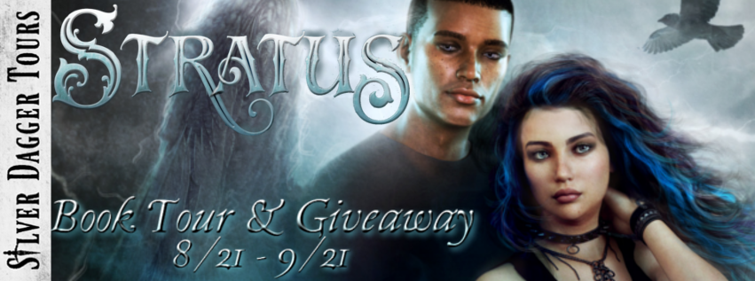 """Book Tour Banner for paranormal romance Stratus from the Fallen Skies Series by Miranda Brock with a Book Tour Giveaway """
