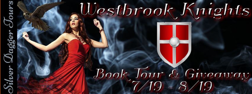 Book Tour Banner for the romantic suspense series Westbrook Knights by Sonya Jesus with a Book Tour Giveaway