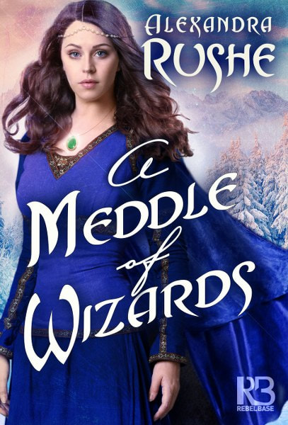 Book Cover for epic fantasy novel A Meddle of Wizards by Alexandra Rushe .