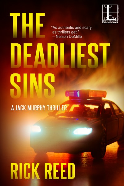 Book Cover for mystery The Deadliest Sins from the  Jack Murphy thriller series by Rick Reed.