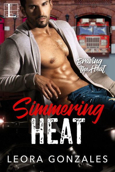 Book Cover for contemporary romance novel Simmering Heat from the Braving the Heat series by Leora Gonzales.