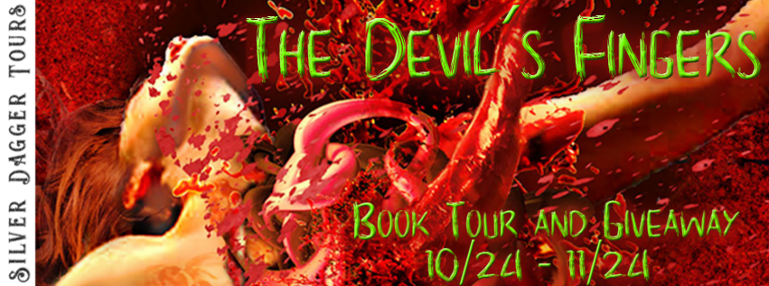 Book Tour Banner for horror novel The Devil's Fingers from the One Size Eats All series by Hunter Shea with a Book Tour Giveaway