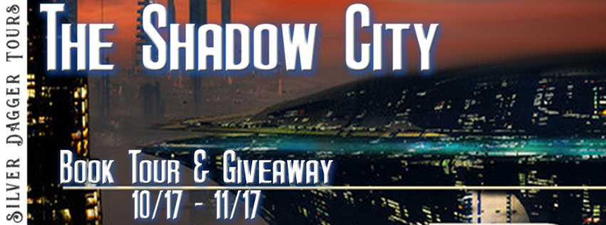 Book Tour Banner for science fiction space opera The Shadow City from the Hunters of Infinity series by Ryan Wieser with a Book Tour Giveaway