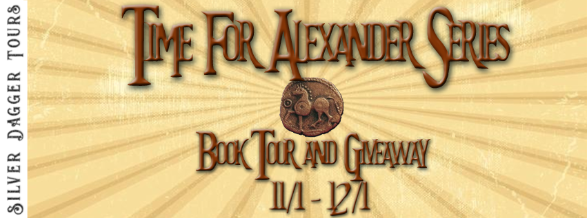 Book Tour Banner for the Time for Alexander paranormal romance time travel series by Jennifer Macaire with a Book Tour Giveaway