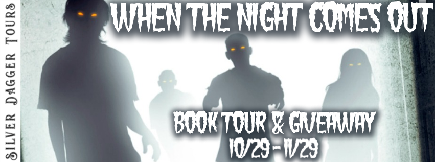Book Tour Banner for horror short story collection When the Night Comes Out by Bryan Alaspa with a Book Tour Giveaway